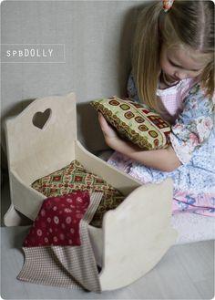 Кровать колыбель люлька деревянная с бельем для куклы - кроватка из дерева