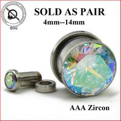 Pantano de par grande ab joya titanium ip tornillo instalar túneles que los enchufes de oído medidores earlet (8mm, 10mm, 12mm, 14mm)