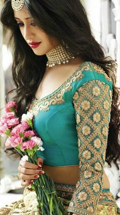 Lawn Green and Blue Colored Shivangi Joshi Lehenga Choli Moda India, Sari, Bridal Lehenga, Lehenga Choli, Wedding Sarees, Indian Designer Wear, Bridal Looks, Stylish Girl, Indian Bridal