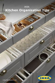 Kitchen interior organizers can help turn even the messiest of drawers into organized and efficient storage. From waste sorting to cookware organizing, IKEA kitchen interior organizers will make your everyday cooking routine easier. Kitchen Drawer Organization, Kitchen Storage, Ikea Kitchen Drawers, Ikea Organization, Organizing Tips, Kitchen Redo, Kitchen Remodel, Kitchen Cabinets, Kitchen Ideas