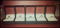 """Bridesmaid proposal. """"Will you be my bridesmaid?"""" Give each bridesmaid a glam/fashion ring to wear on the big day!"""