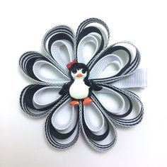 "Black & White Penguin, Winter Handmade 3"" Hair Flower, Bow, Ribbon Sculpture Hair Clip, Flower Hair Clip - Made To Order by CupcakesClipShop on Etsy"
