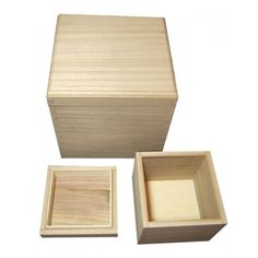 ONE Set of 2 Stacking Plain Wooden Cube Boxes with Removable Lids - Square & Rectangular Boxes - Plain Wooden Boxes | The Wooden Box Mill