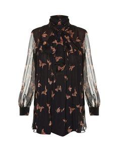 High-neck moth-print silk-crepon blouse | Alexander McQueen | MATCHESFASHION.COM