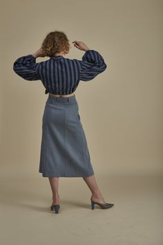 Reef Blouse - Limited Edition Mother Of Pearl Buttons, Kimono Fashion, Butler, Indigo, Organic Cotton, High Waisted Skirt, Blouse, Winter, Skirts