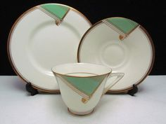 Doulton deco: Savona tea trio by Herbert Bettley, V1616, BB3427, c1934 (pattern). Green colourway - green geometric design with gold gilt scroll highlights, bands and trim. Love, on my wishlist!