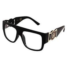 a2ec8cbc387 Oversized Vintage Gazelle Style Flat Top Wayfarer Glasses Lion Head Clear