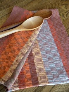 Kitchen towels designed and handwoven in Swedish Drall in warm Autumn twill blocks in 100 percent cotlin. There are three similar towels woven