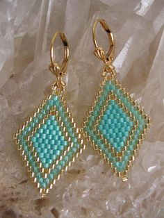 These pretty, petite, & lightweight beadwoven earrings are handmade with transparent minty aqua, silver-lined aqua frost, & golden delica seed beads.