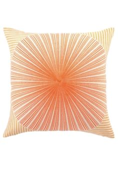 "Trina Turk pillow. Style:Lavabile Dot Pillow, Color:Orange.  Luxe embroidery pillow down-filled. Size:20""x20""."