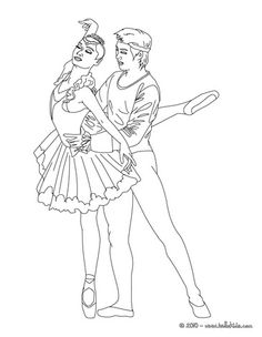 Couple of ballet dancers coloring page