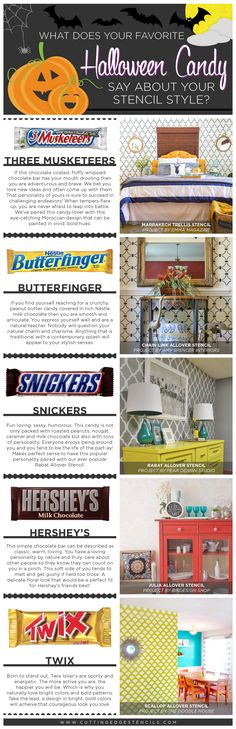 Cutting Edge Stencils shares the perfect stencil based on your favorite Halloween candy! http://www.cuttingedgestencils.com/wall-stencils-stencil-designs.html