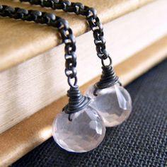 Rose Quartz Sterling Silver Earrings  Artisan Handmade | NightSkyJewelry - Jewelry on ArtFire