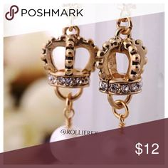 Betsey Johnson Crowns Material: Alloy  Color: as picture  Earrings Size: 2.16'' x 0.39'' Jewelry Earrings