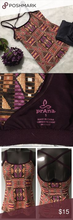 PrAna purple and orange athletic top size small Orange and purple prAna Athletic tank top with a crisscross back a built-in bra. Bra is missing removable padding.  This shirt is in excellent condition Prana Tops Tank Tops