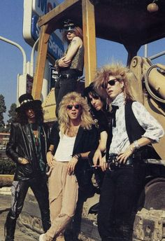 Guns N' Roses on the corner of Sunset and LaBrea, 1985