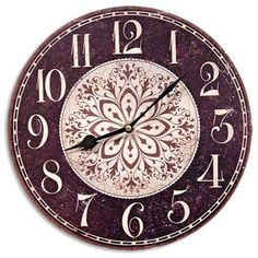 Floral Black and White Wall Hanging Clock