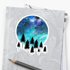 'Aurora Borealis' Sticker by amayabrydon Canvas Prints, Art Prints, Nature Inspired, Aurora Borealis, Watercolor Illustration, Superhero Logos, Collage Art, Northern Lights, Duvet Covers