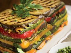Roasted Vegetable Terrine with Parsley Sunflower Seed Pesto . Impress your meat-free guests with this snazzy vegan stack. Can be served as a side dish or main course. Vegetable Recipes, Vegetarian Recipes, Cooking Recipes, Healthy Recipes, Vegetarian Grilling, Healthy Grilling, Wedding Entrees, Eggplant Recipes, Strudel