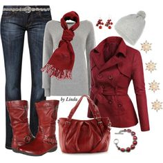 """""""Silver & Red Winter Outfit"""" by lindakol on Polyvore"""