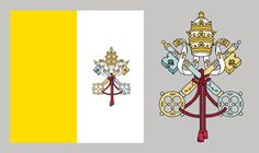 Vertically divided yellow-white national flag with an emblem on the white stripe featuring two crossed keys and a papal tiara. The flag is square in its proportions. For centuries. Catholic Flag, Roman Catholic, European Flags, Saint Peter Square, The White Stripes, Gif Animé, Vatican City, National Flag, Anime