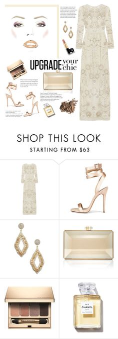 """""""#412"""" by blacksky000 ❤ liked on Polyvore featuring Needle & Thread, Vanhi, Judith Leiber, Clarins and Dolce&Gabbana"""