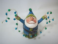 Primitive Paper Mache Folk Art Blue and Green Santa with Bells