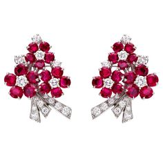 1STDIBS.COM Jewelry & Watches - Oscar Heyman - OSCAR HEYMAN Ruby & Diamond Floral Cluster Earrings - Betteridge
