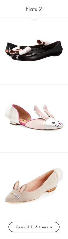 """""""Flats 2"""" by thesassystewart on Polyvore featuring shoes, flats, black flat shoes, flat pumps, bow flats, black slip on flats, ted baker flats, bunny, easter egg and egg"""