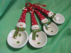 Snowmen Measuring Spoons Porcelain New | eBay