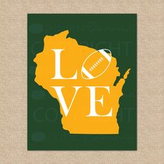 Green Bay Packers NFL Football Print-Wisconsin