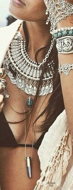 Gypsy Coin Necklace Vintage Silver Tone Adjustable Gipsy Gypset Jewelry For Free Spirited People