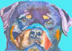 Rottweiler dog Portrait print, Electric blue, Cyan Rottweiler Print from acrylic Watercolor Painting, Rottie gift.… #dogs #etsy #art