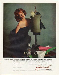 "1961 SMIRNOFF VODKA vintage magazine advertisement ""fashion change"" ~ ""It's the most exciting fashion change in liquor history!"" says Suzy Parker - Glamorous Suzy Parker wears an original creation by Christian Dior -- New York  ... it leaves you ..."