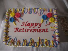 Colorful Balloons Happy Retirement Sheet Cake