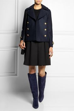 jimmy choo boots, black skirt, blue coat