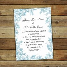 Lace plus blue color for alternative to Navy w/ lace. blue floral lace simple white wedding invitations EWI266 |