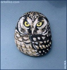 painted rocks: birds:Owl
