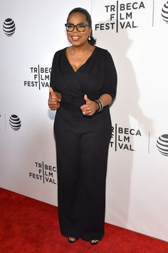 Oprah Winfrey got deceked out in a black jumpsuit at the Tribeca Tune In- Greenleaf in NYC..