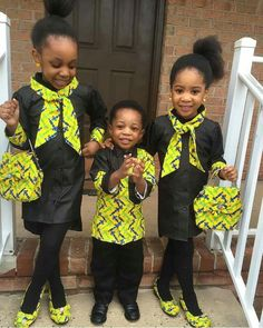 Kids in African print ~African fashion, Ankara, kitenge, African women dresses… Ankara Styles For Kids, Unique Ankara Styles, African Dresses For Kids, African Children, African Print Dresses, African Fashion Dresses, African Women, African Prints, Ghanaian Fashion