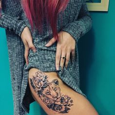 Lioness tattoo roses flowers