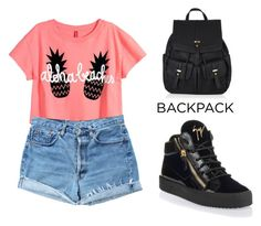 """""""Back to School: New Backpack"""" by tania-alves ❤ liked on Polyvore featuring moda, Levi's, Giuseppe Zanotti, Accessorize e BackToSchool"""