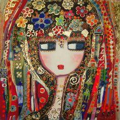 Ala Verda-by Canan Berber Turkish Art, Paintings I Love, Naive Art, Schmuck Design, Whimsical Art, Painting Inspiration, Flower Art, Art Dolls, Folk Art