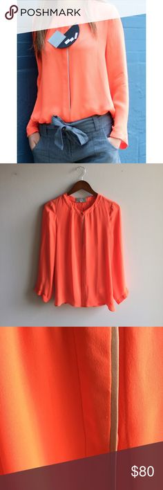HP[alc] fluorescent orange silk blouse Beautifully elegant 100% silk ALC blouse in orange. Button down in hidden enclosure, tan piping detail in front, open draped back. Gorgeous!! Great condition. A.L.C. Tops Blouses