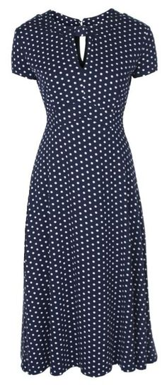 NEW CLASSY BLUE POLKA DOT VINTAGE WW2 LANDGIRL 1940s 1950s PINUP RETRO TEA DRESS