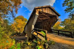 Red Oak Creek Covered Bridge near  Concord, GA. Oldest and longest covered bridge in Georgia, built in 1840 by Horace King. Photo by Jimmy Day.