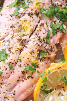 This simple but delicious lemon garlic butter fish is perfect for busy people! A nice mid-week meal, this lemon butter fish baked gets its special flavor from lemon juice, mint, garlic, fresh thyme and chopped parsley. Fun Easy Recipes, Special Recipes, Fish Recipes, Seafood Recipes, Easy Meals, Cooking Recipes, Healthy Recipes, Seafood Menu, Healthy Food