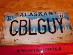 Alaska License Plate 2009 Vanity style CBLGUY lettering, Mountains & Forest 2011