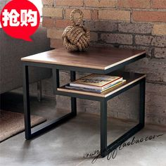 522.50$  Buy here - http://ali08w.worldwells.pw/go.php?t=32435391456 - Iron leisure table American country to do the old retro fashion creative minimalist wood coffee table, side table Desk red diamo