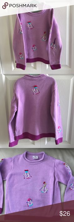Hanna Andersson purple snowman sweater size 130 Like new! Barely worn. Should fit size 8-10. Feel free to ask any questions. All reasonable offers considered. 🌺 Hanna Andersson Shirts & Tops Sweaters